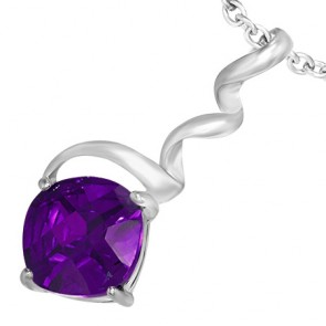 Fashion Alloy Crystal Square Twisted/ Corkscrew Pendant w/ Amethyst CZ