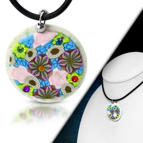 Fashion Fimo/ Polymer Clay Rose Flower Circle Charm Necklace w/ Colorful CZ
