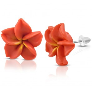 15mm | Fashion Fimo/ Polymer Clay Plumeria Flower Stud Earrings (pair)