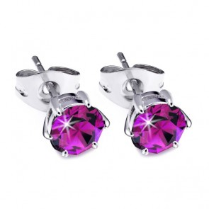 Round Claw Stainless Steel Stud Earrings w/ Fuchsia Swarovski® Elements Crystals