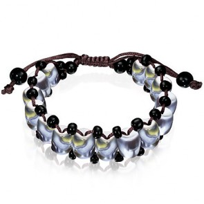 Fashion Colorful Oval Stone Bead Shamballa Style Bracelet