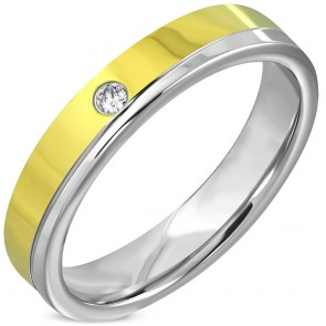 4.5mm | Stainless Steel 2-tone Comfort Fit Wedding Flat Band Ring w/ Clear