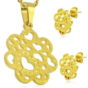 Gold Color Plated Stainless Steel Sandblasted Open Love Heart Flower Charm Pendant & Pair of Stud Earrings (SET)