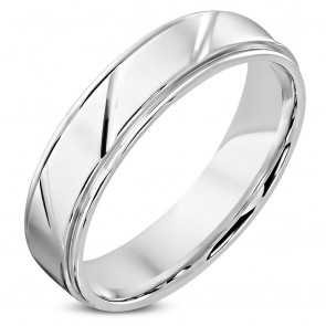 6mm | Stainless Steel Diamond- Cut Striped Step Edge Comfort Fit Half­-Round Wedding Band Ring