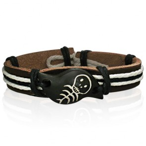 Fashion Rope Brown Leather & Bone Skull WatchStyle Bracelet