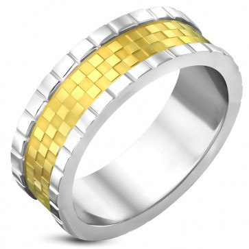 8.5mm | Stainless Steel 2-tone Checker / Grid Flat Band Ring