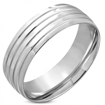 8mm   Stainless Steel Grooved Striped Comfort Fit Half-Round Wedding Band Ring