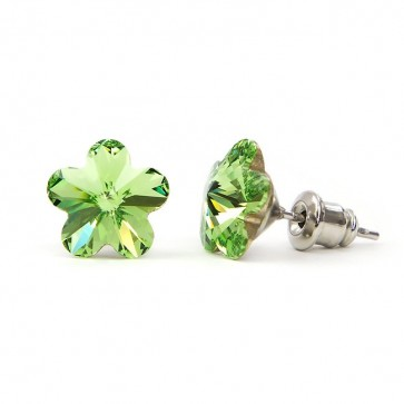 Flower Stainless Steel Stud Earrings w/ Jazzy Green Swarovski® Elements Crystals