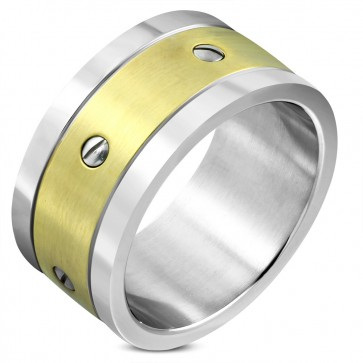 12mm | Stainless Steel 2-tone Screw Grooved Striped Wide Band Ring