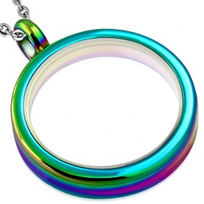 32mm | Anodized Stainless Steel Inner Glass Circle Locket Pendant