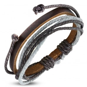 Fashion Multi-Strand Wrap Rope Adjustable Brown Leather Bracelet