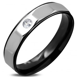 5mm | Black Stainless Steel 2-tone Comfort Fit Half-Round Wedding Band Ring w/ Clear CZ
