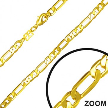 L46cm W5mm | Fashion Alloy Gold Color Plated Figaro Link Chain