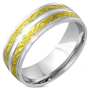 8mm | Stainless Steel 2-tone Engraved Comfort Fit Half-Round Band Ring