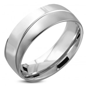 8mm | Stainless Steel Diagonal Striped Comfort Fit Half-Round Wedding Band Ring 