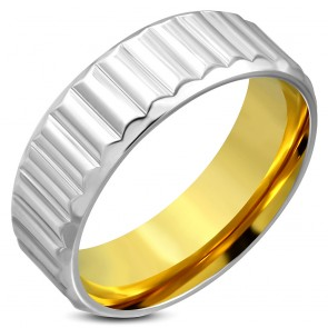 8mm | Stainless Steel 2­-tone Ribbed Striped Comfort Fit Band Ring ­
