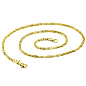 L45cm W2.5mm | Gold Color Plated Stainless Steel Lobster Claw Clasp Round Mesh Link Chain