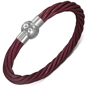 L-21cm W-6mm | Multi Strand Brown Leather Bracelet w/ Stainless Steel Magnetic Lock