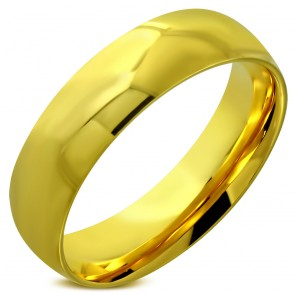 6mm | Gold Color Plated Stainless Steel Comfort Fit Half- Round Wedding Band Ring 