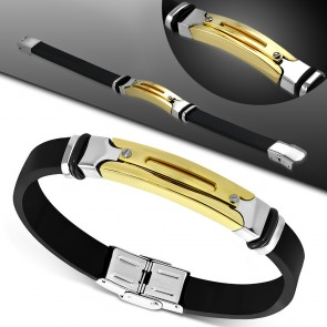 Black Rubber Bracelet w/ Stainless Steel 3-tone Cut-out Oval Screw Watch-Style