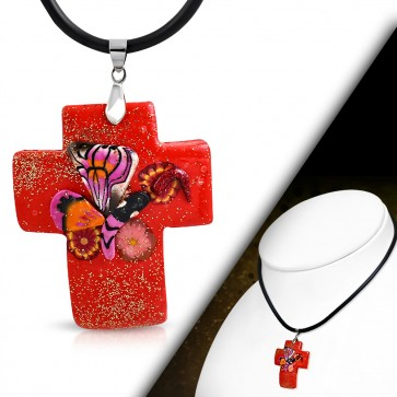 Fashion Fimo/ Polymer Clay Butterfly Flower Cross Charm Necklace