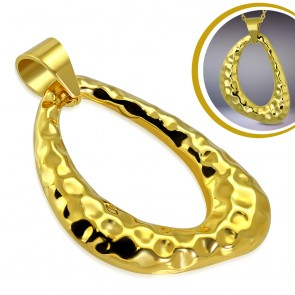 Gold Color Plated Stainless Steel Cratered Teardrop Charm Pendant