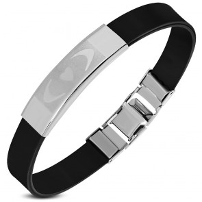 Black Rubber Bracelet w/ Stainless Steel Half-Moon Crescent Heart Watcy Style