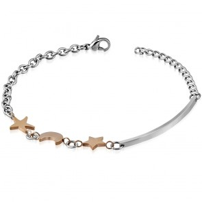Stainless Steel 2-tone Half-Moon Crescent Star Link Chain Bracelet