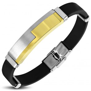 Black Rubber Bracelet w/ Stainless Steel 3-tone Jigsaw Watch-Style