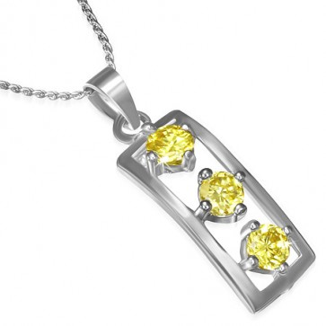 Fashion Alloy Round Circle Crystal Tag Charm Chain Necklace w/ Yellow CZ