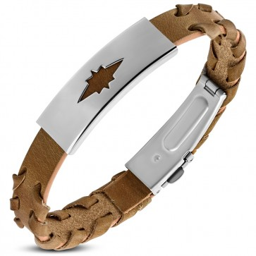 Brown PVC Leather Bracelet w/ Stainless Steel Cut-out Shining Star Watch-Style