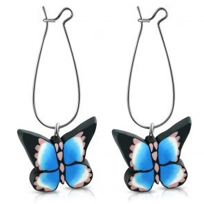 Fashion Alloy Fimo/ Polymer Clay Colorful Butterfly Long Drop Earrings (pair)
