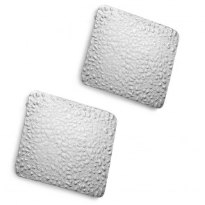 Stainless Steel Hammered Finish Square Stud Earrings (pair)