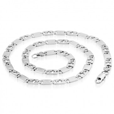 L62cm W8mm | Stainless Steel Lobster Claw Clasp Cut-out Cross Diagonal Oval Tag Link Chain