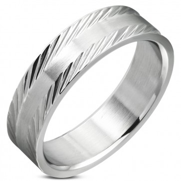 6mm | Stainless Steel Diamond-Cut Edge Wedding Flat Band Ring