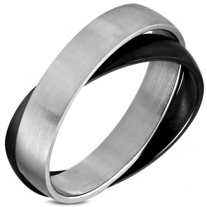 Stainless Steel 2-tone Interlocking Celtic Band Ring
