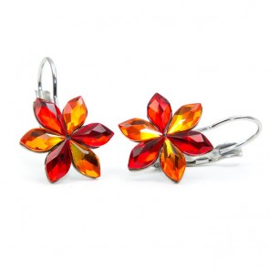 Flower Stainless Steel Hook Earrings w/ Fire Opal Swarovski® Elements Crystals