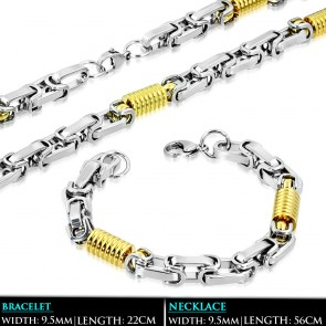 L56cm W9.5mm | Stainless Steel 2-tone Lobster Claw Clasp Ribbed Cylinder Byzantine Link Chain & Bracelet (SET)