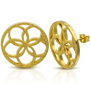 Gold Color Plated Stainless Steel Sandblasted Cut-out Flower Circle Stud Earrings (pair)