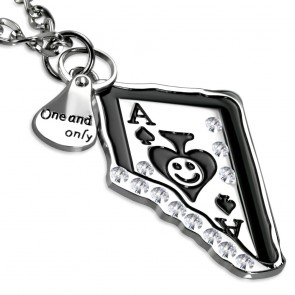 Fashion Alloy 2-Piece Playing Card Tag Teardrop Charm Chain Necklace w/ Clear CZ
