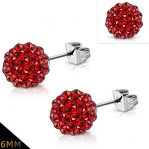 6mm | Stainless Steel Argil Disco Ball Shamballa Stud Earrings w/ Light Siam Red CZ (pair)
