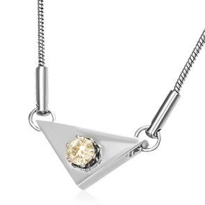 Stainless Steel Prong-Set Circle Triangle Charm Chain Necklace w/ Topaz CZ