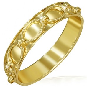 DIA65mm | Fashion Alloy Gold Color Plated Oval Link Chain Wrap Bangle