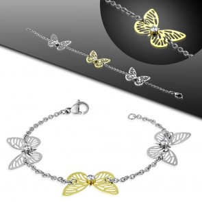 Stainless Steel 2-tone Trio Filigree Butterfly Women Bracelet w/ Clear CZ