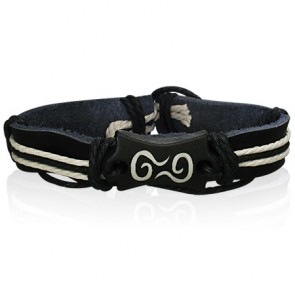 Fashion Rope Black Leather & Bone Spiral Balance Symbol WatchStyle Bracelet