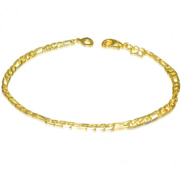 3mm | Fashion Alloy Gold Color Plated Figaro Link Chain Bracelet