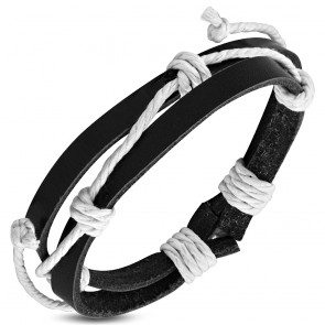 Fashion Double Wrap Rope Adjustable Black Leather Bracelet
