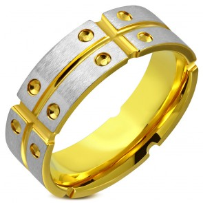 8mm | Gold Color Plated Stainless Steel Satin Finished 2-tone Grooved Comfort Fit Band Ring 