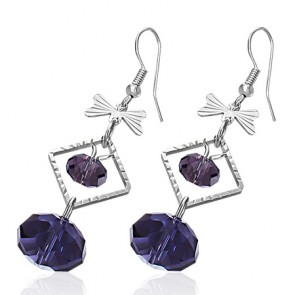 Fashion Alloy Amethyst Bead Bow Square Long Drop Hook Earring (pair)