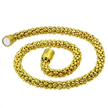 L47cm W8mm | Gold Color Plated Stainless Steel Magnetic Clasp Closure Popcorn Link Chain